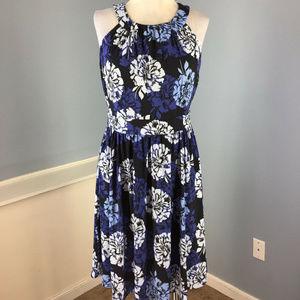 Banana Republic M 8 Blue Floral Dress Stretch EUC
